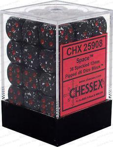 Chessex Dice 12mm D6 Space CHX25908 36 Dice